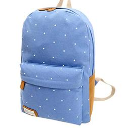 Thsyeabag Women Girl Canvas Rucksack Polka Dot Backpack Sky